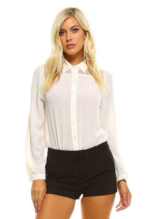 Women's Lace Button Down Blouse