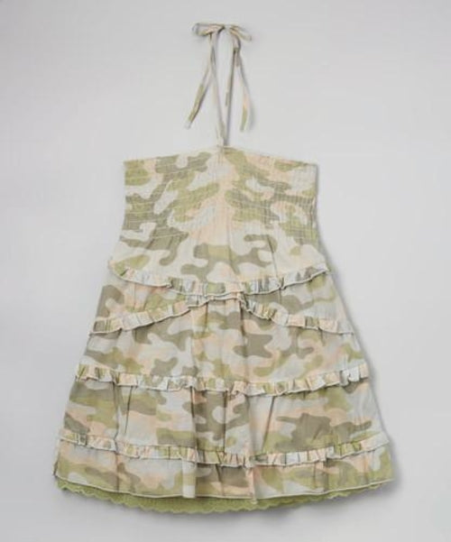 Girls Camo Print Smocked Halter Top