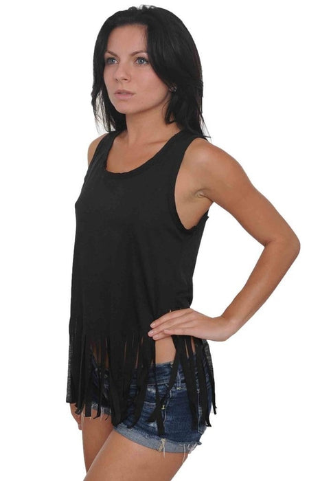 Women's Shredded Cropped Tank Top Scooped Neck