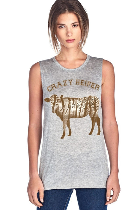 Crazy Heifer W Heifer Design Muscle Tank Top