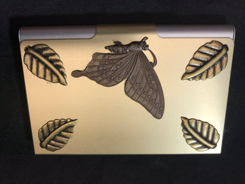 Gold Tone Business Card Case with Butterflies and Leaves