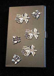 Flat Black Business Card Case with Butterflies in the Rose Garden