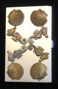 Silver Tone Business Card Case with Sea Horses and Scallops