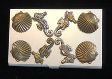 Load image into Gallery viewer, Silver Tone Business Card Case with Sea Horses and Scallops