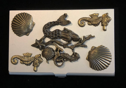 Silver Tone Business Card Case with Mermaid and Sea Life