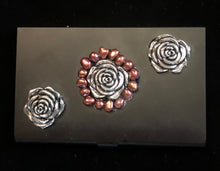 Load image into Gallery viewer, Flat Black Business Card Case with Roses and Pearls