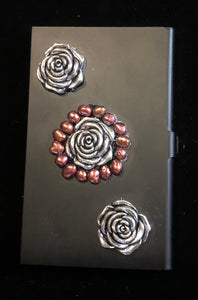 Flat Black Business Card Case with Roses and Pearls