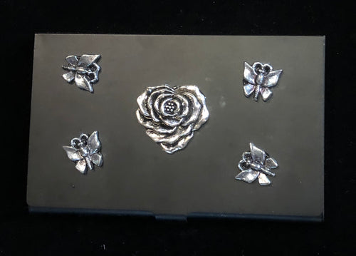 Flat Black Business Card Case with Rose and Butterflies