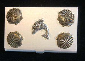Silver Tone Business Card Case with Leaping Dolphin
