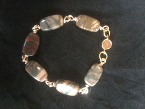 Plated Copper Wire Wrapped Agate Bead Bracelet