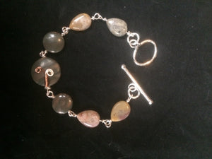 Copper Sprout Wire Wrapped Agate Bracelet