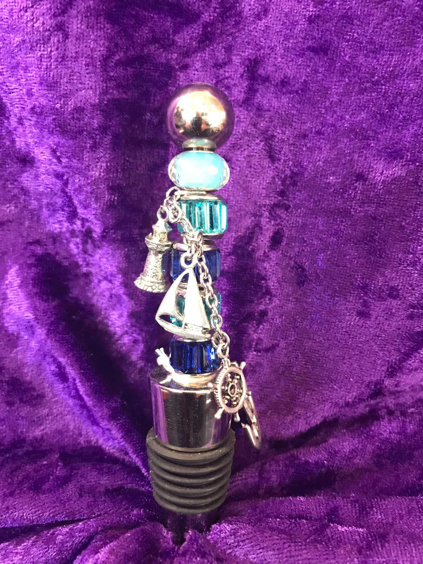 Sailing by the Lighthouse Stainless Steel Bottlestopper