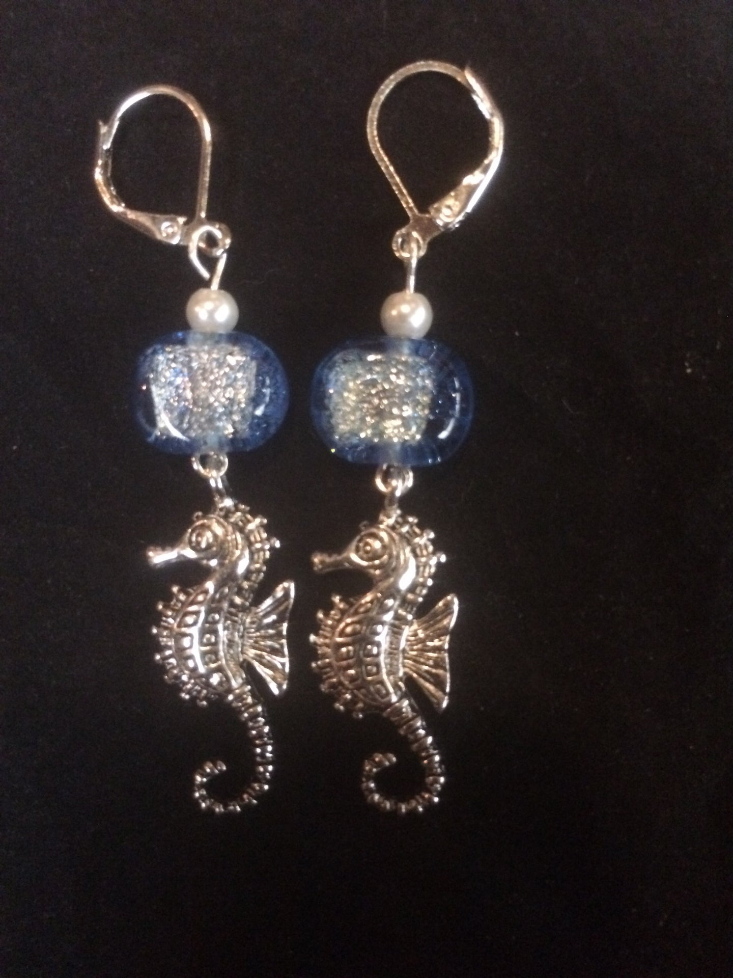Dichroic Glass and Seahorse Leverback Earrings