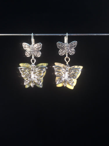 Leverback earrings made from plated metal butterfly charms, Korean