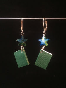 "Miniature ""Writeable"" Book Earrings (Green Book with Blue Stars)"