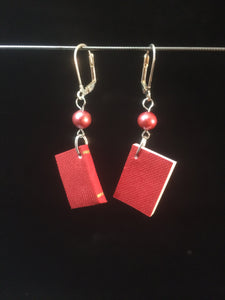"Miniature ""Writeable"" Book Earrings (Red Book with Red Glass Pearl)"