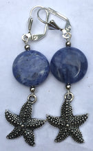 Load image into Gallery viewer, Sodalite and Sea Life Charm Dangle Earrings