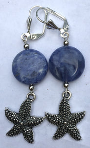 Sodalite and Sea Life Charm Dangle Earrings