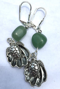 Sea Life Charms with Aventurine Leverback Earrings