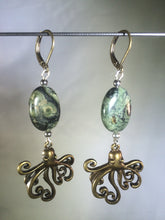 Load image into Gallery viewer, Octopi with Serpentine Leverback Earrings