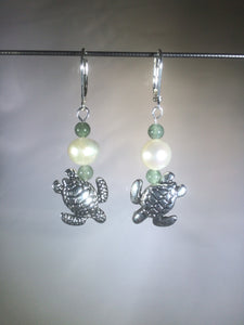 Diving Sea Turtles with Pearls and Aventurine Earrings