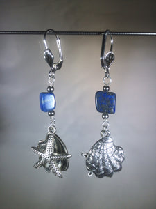 Sea Stars and Oysters with Lapis Earrings