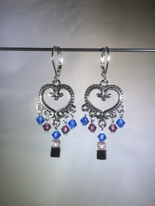 "Blue glass and Czech crystal beads dangle from a central brass heart focal in these 1.25"" drop brass chandelier leverback earrings."