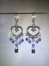 Load image into Gallery viewer, Brass Heart Blue Chandelier Earrings