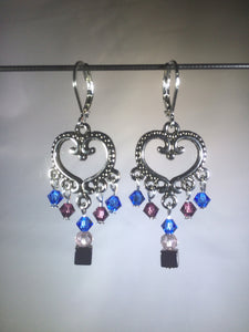 Brass Heart Blue Chandelier Earrings