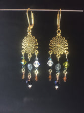Load image into Gallery viewer, Green and Brown Czech Crystal and Glass Sunburst Chandelier Leverback Earrings