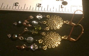 Green and Brown Czech Crystal and Glass Sunburst Chandelier Leverback Earrings