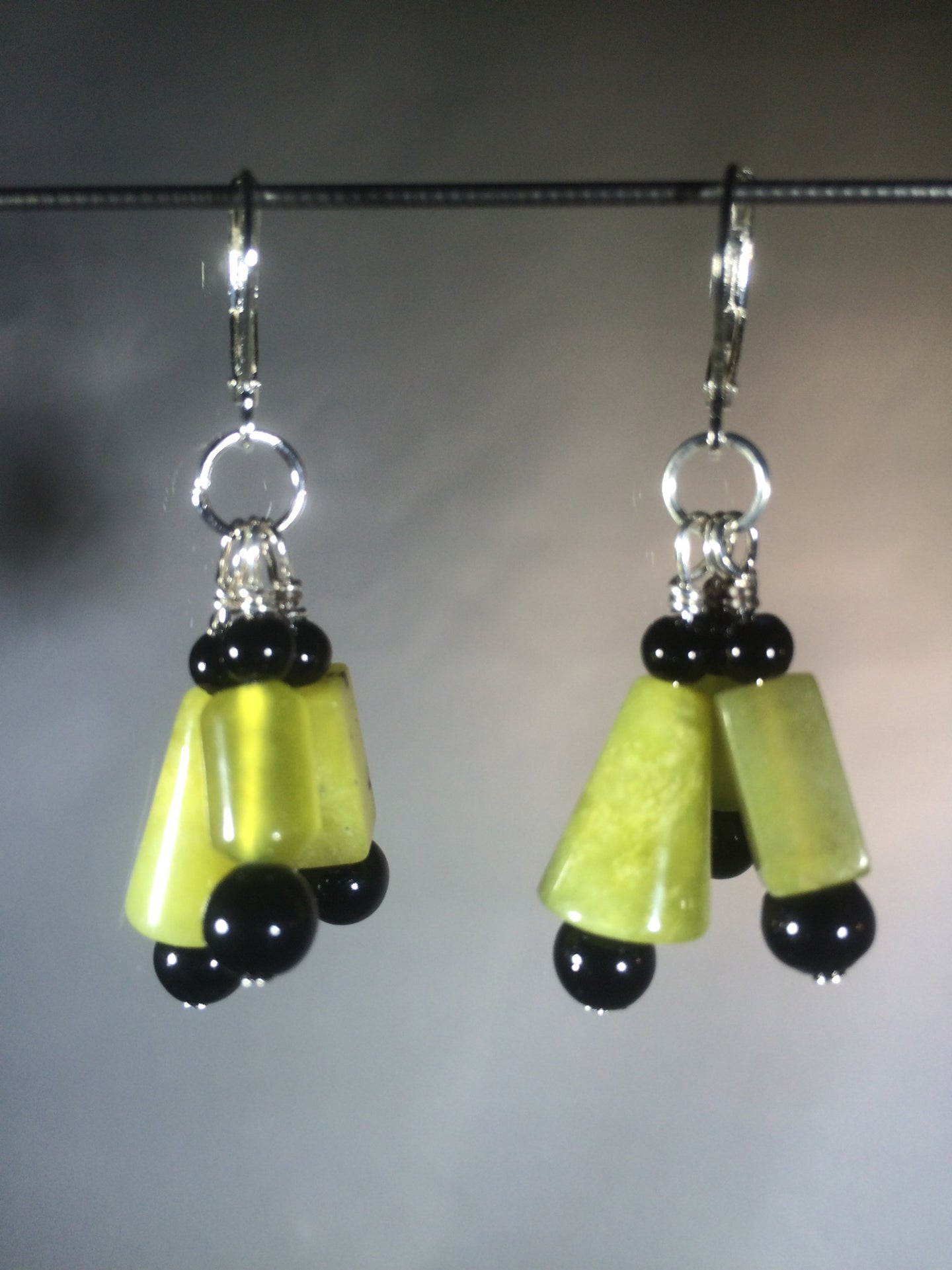 Green and Black Abstract Dangly Korean Jade Earrings