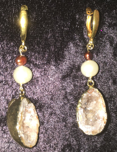 Gold Dipped Geode and Pearl Drop Leverback Earrings