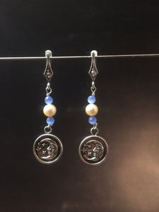 Earrings for Moon and Mother of Pearl Necklace