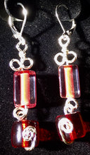 Load image into Gallery viewer, Red Rectangles and Cylinders Earrings