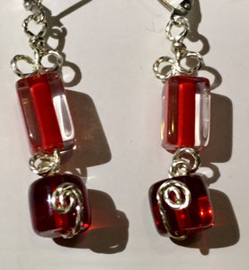 Red Rectangles and Cylinders Earrings
