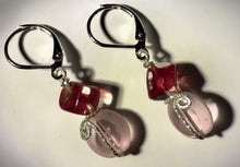 Load image into Gallery viewer, Red Cubes with Pink Glass Silver Earrings