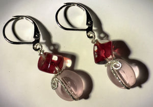Red Cubes with Pink Glass Silver Earrings