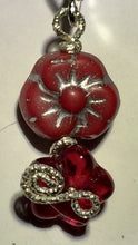 Load image into Gallery viewer, Red Glass Flowers with Silver Earrings