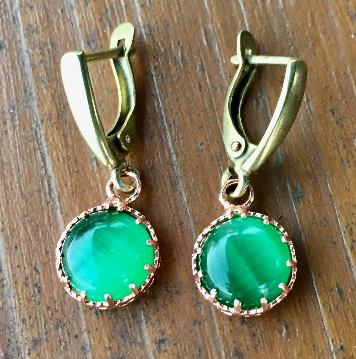 Green Chatoyant Glass and Copper Earrings