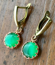 Load image into Gallery viewer, Green Chatoyant Glass and Copper Earrings