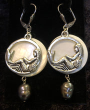 Load image into Gallery viewer, Reclining Mermaid on Paua Shell Earrings