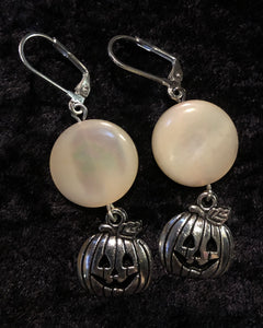 Pumpkins with Mother of Pearl Moon Glass Earrings
