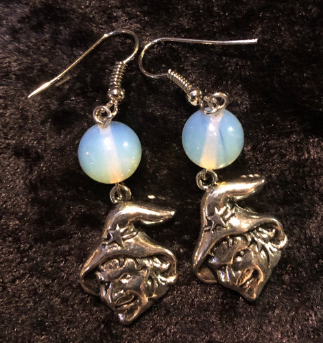 Witch with Opalite Moon Glass Earrings