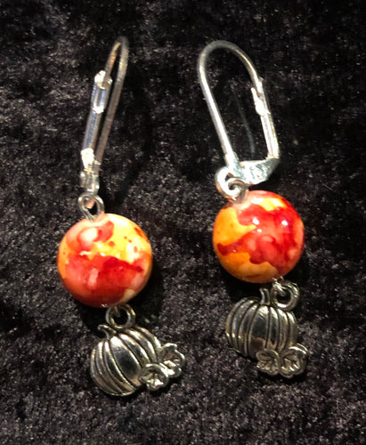 Pumpkins with Ceramic Bead Earrings