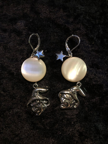 Witch with Mother of Pearl Moon Glass Earrings