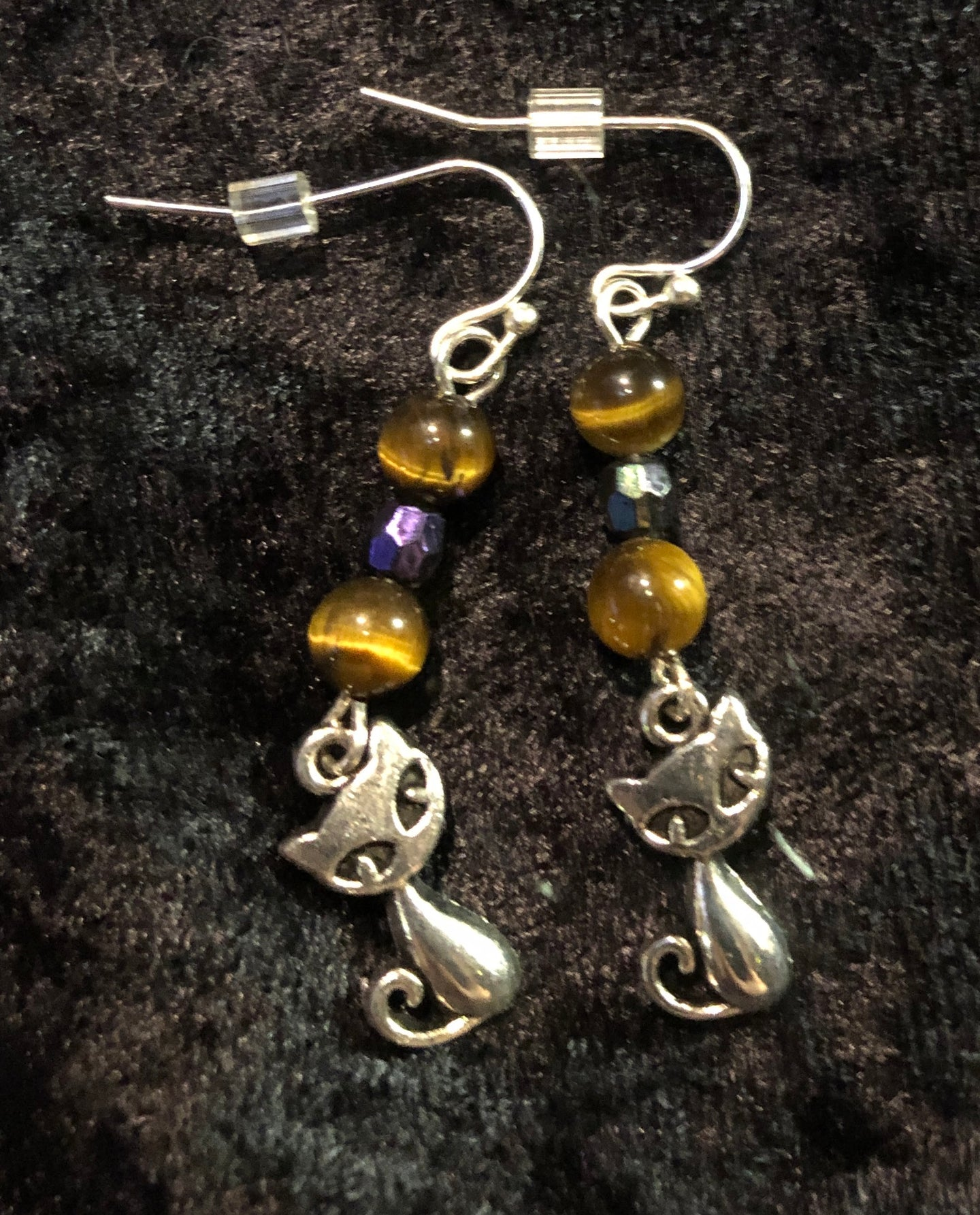 Cats with Tiger's Eye Bead Earrings