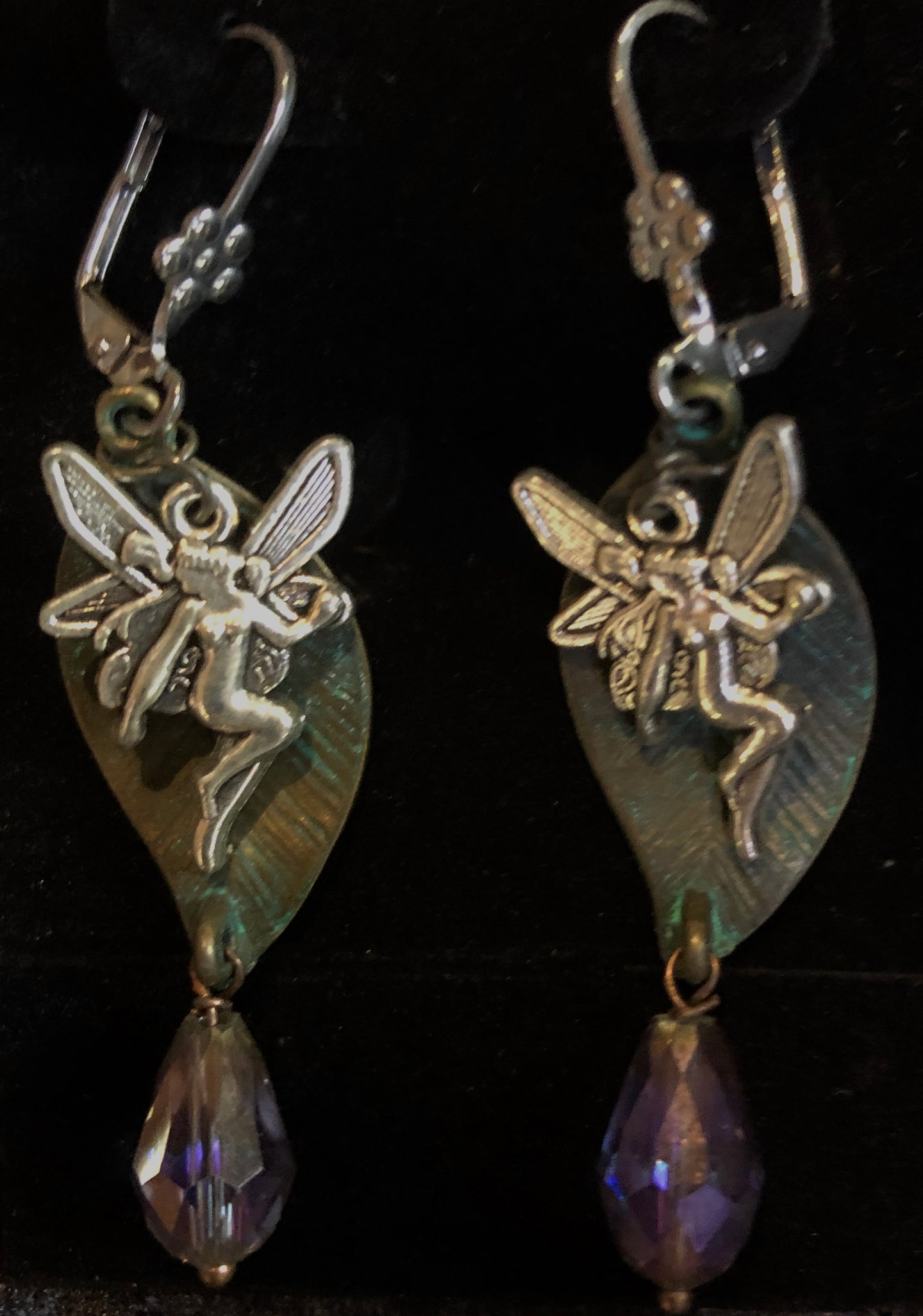 Faeries Sparkling on Green Leaves Leverback Earrings