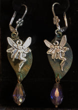 Load image into Gallery viewer, Faeries Sparkling on Green Leaves Leverback Earrings