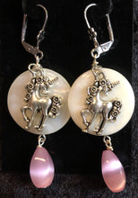 Load image into Gallery viewer, Unicorn on Paua Shell Earrings